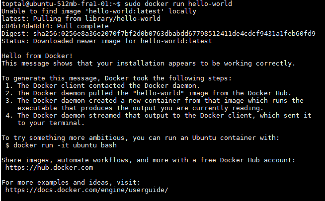 Hello-world Docker Engine