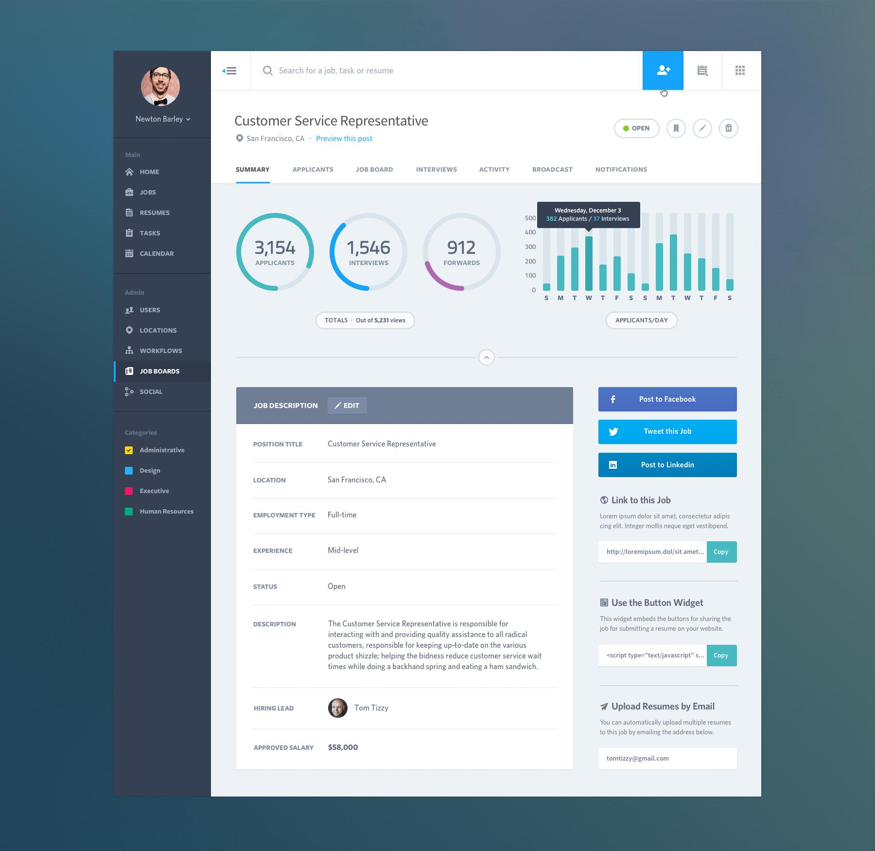Dashboard Job Summary Web App