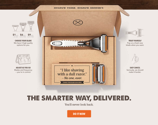dollar shave club landing page