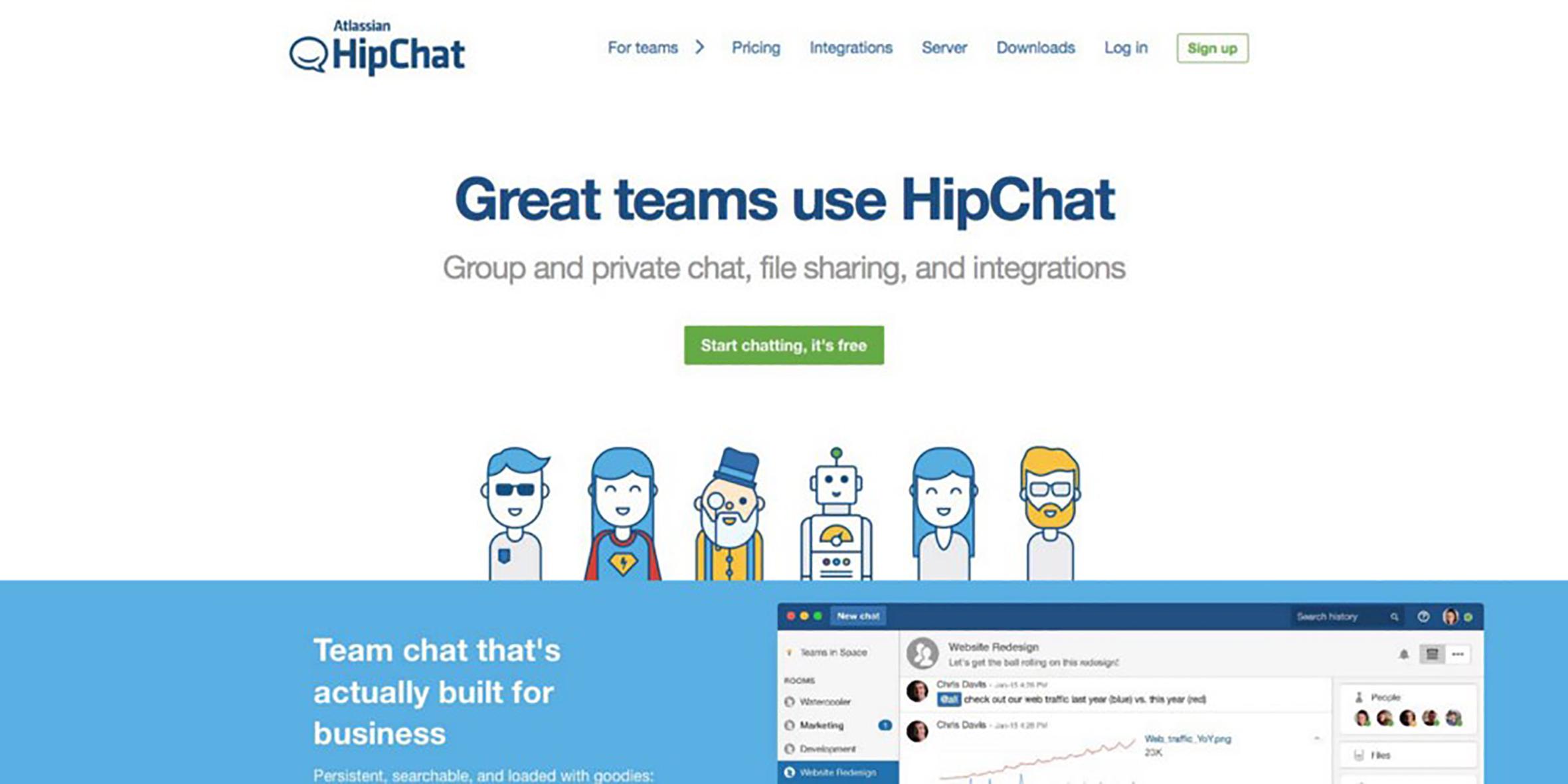 hipchat landing page