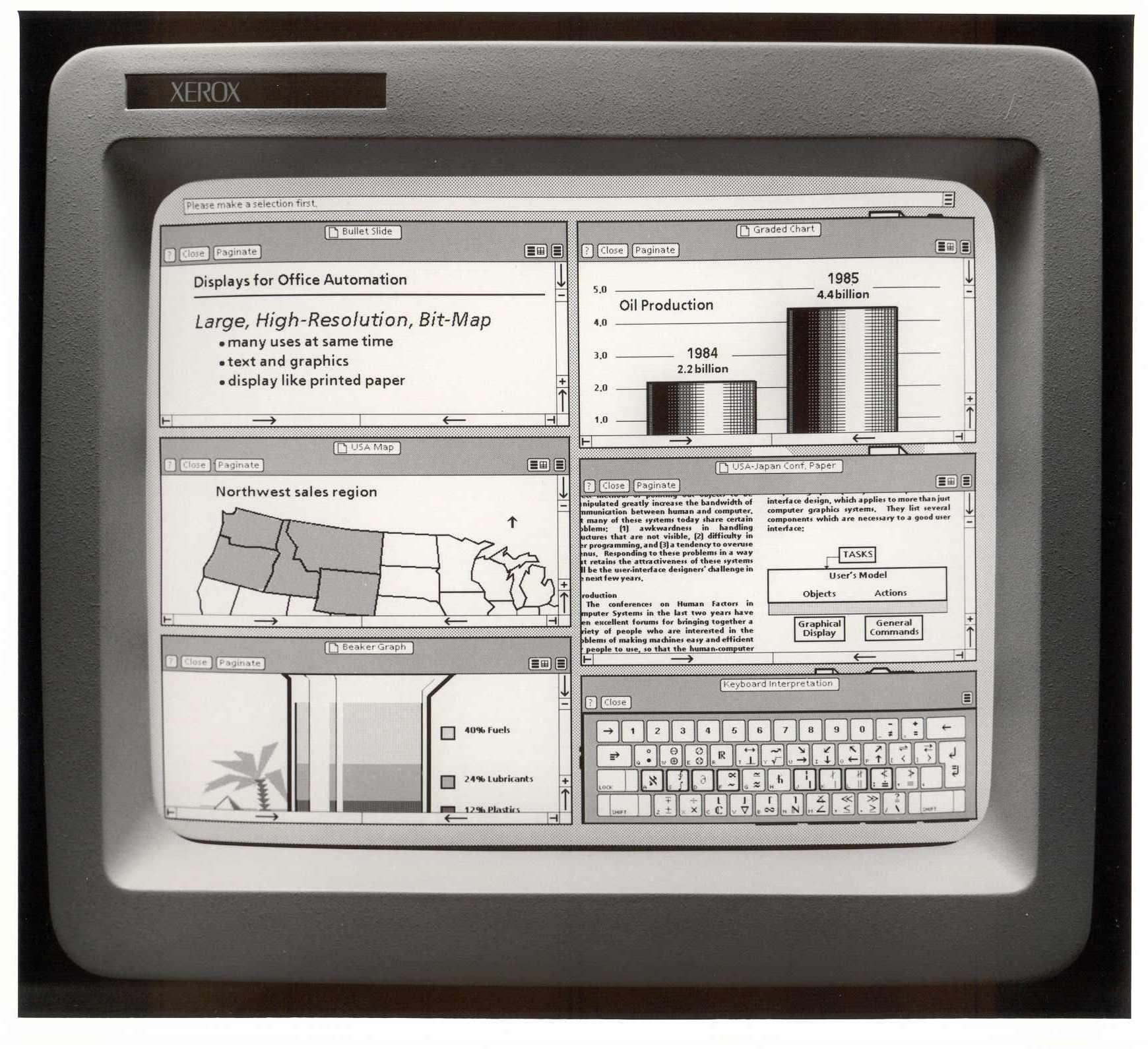 Xerox star workstation one of the first GUIs