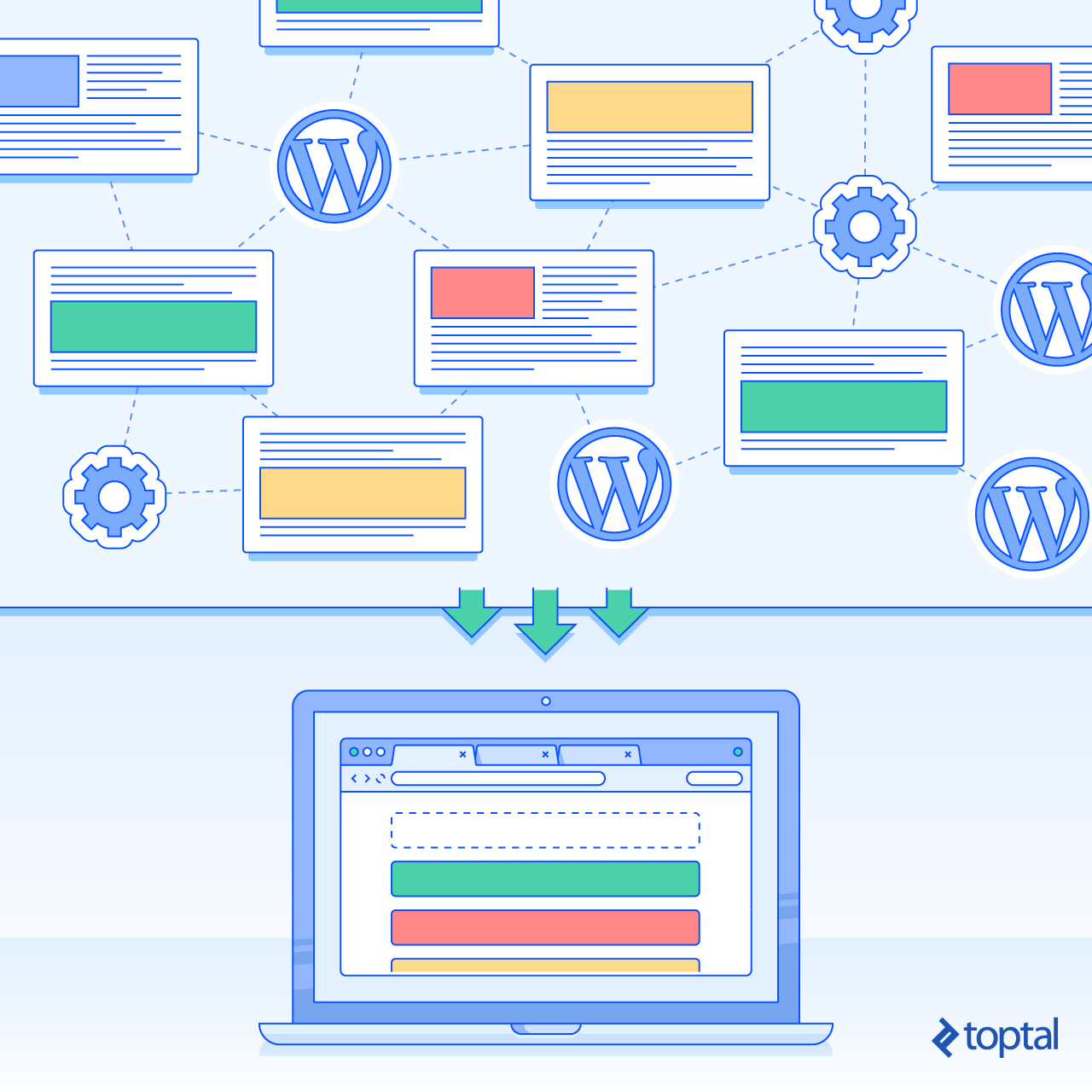 Illustration of WordPress connected instances