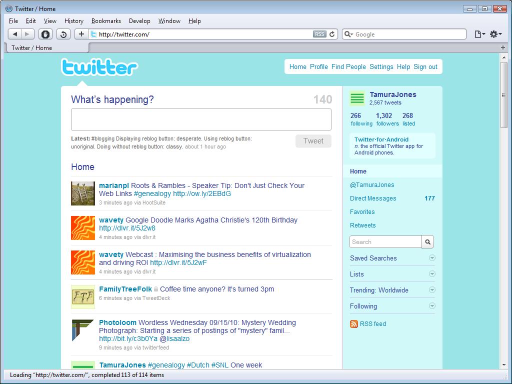 Twitter UI design circa 2012