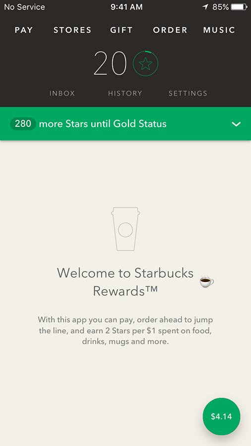 Starbucks mobile app UX design
