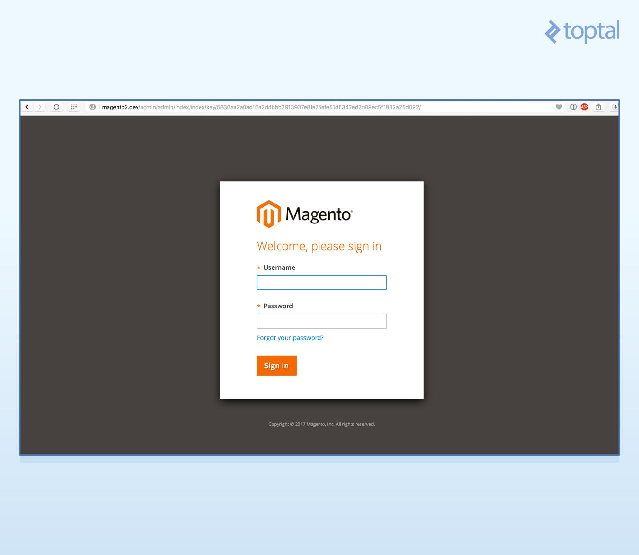 Admin application login page