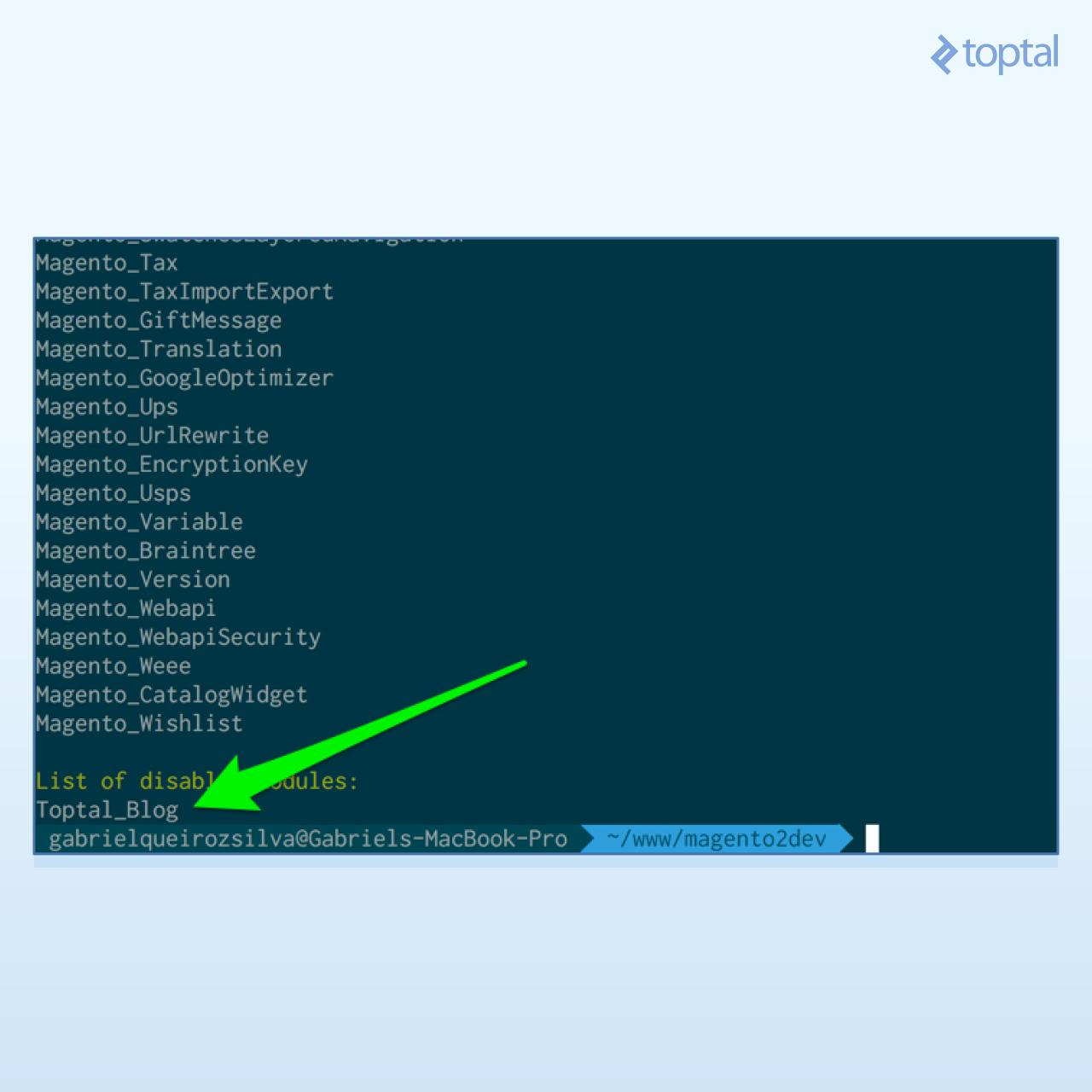 Output of status command, showing Toptal_Blog module being disabled