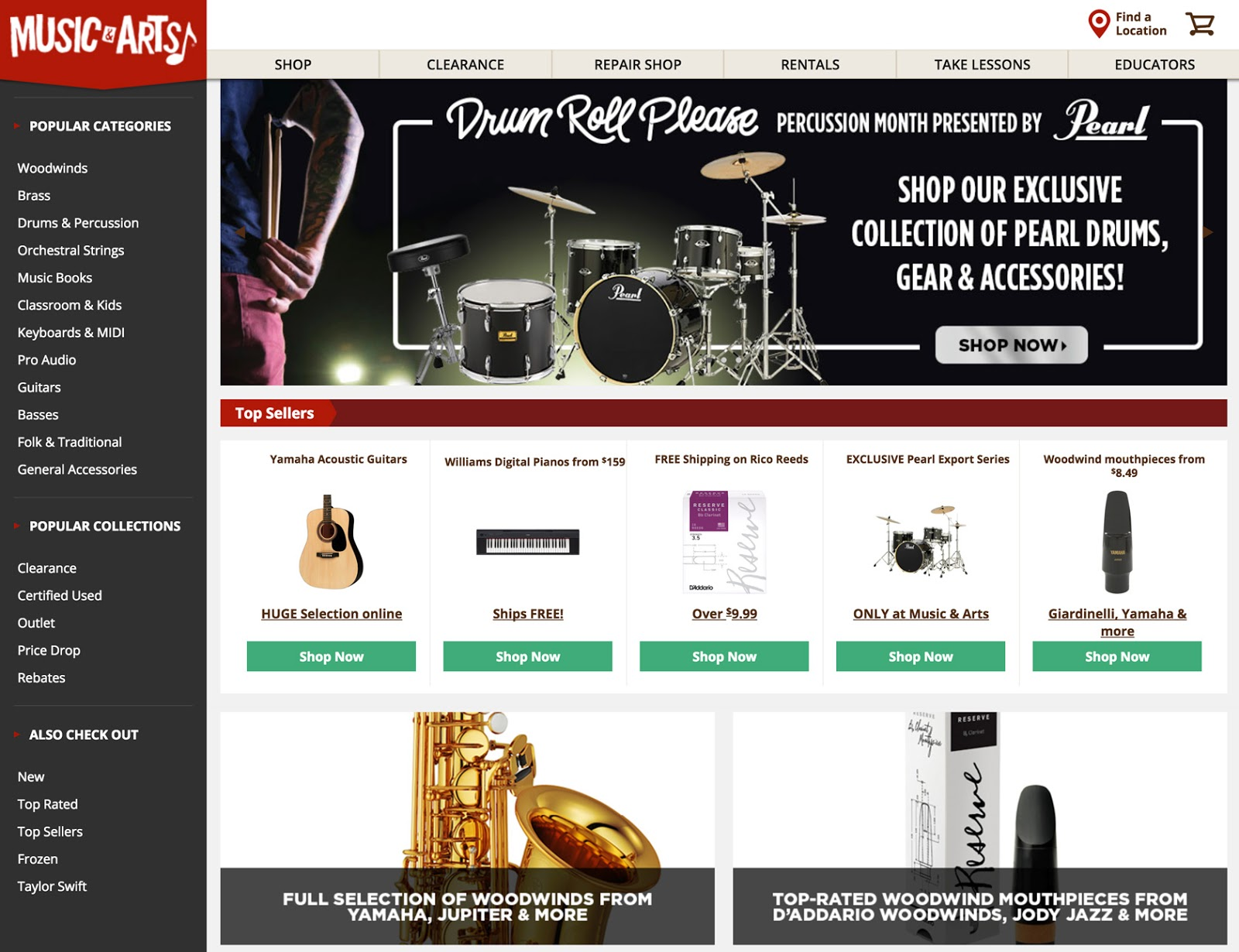 Music and Arts ecommerce website