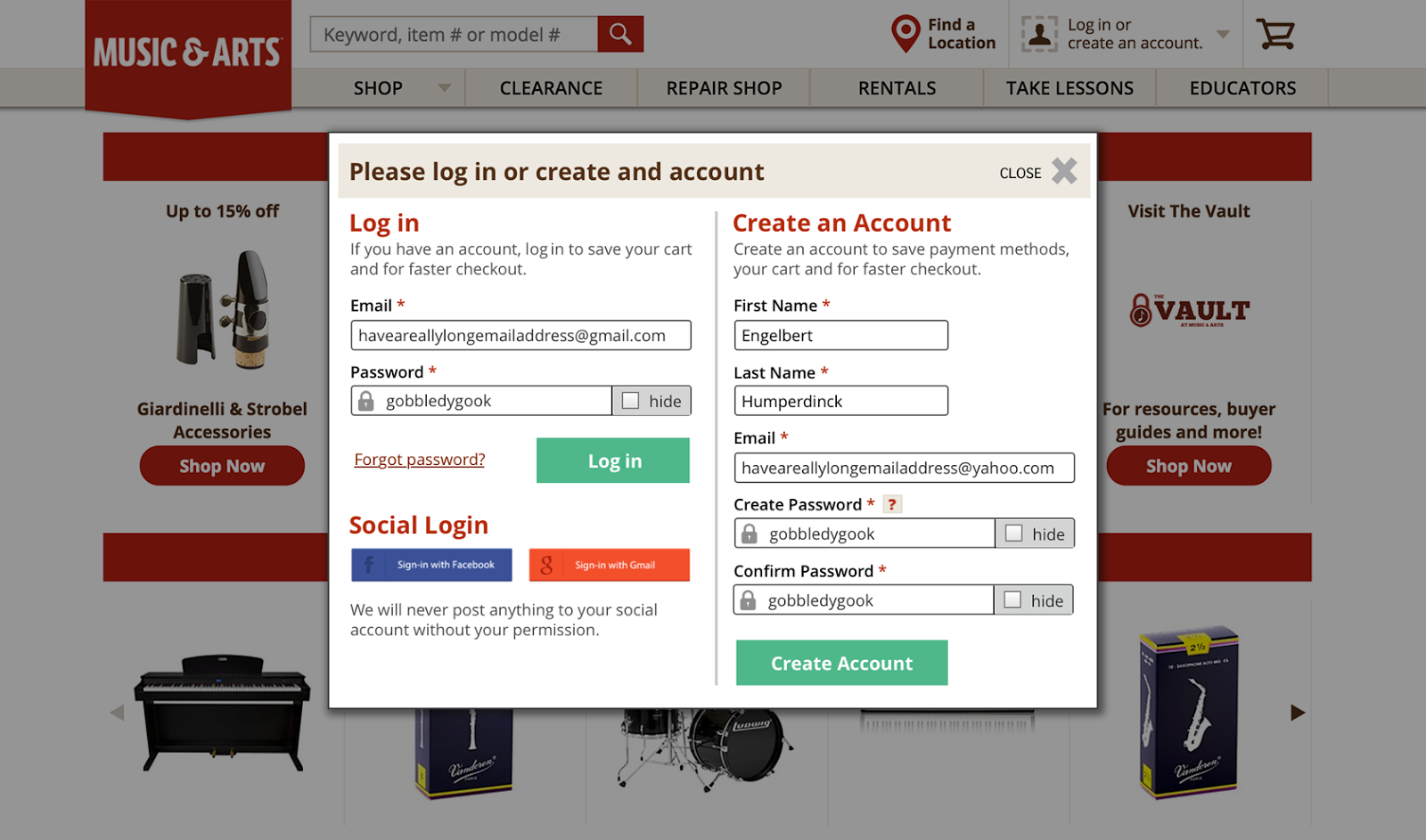 e-commerce responsive website design modal login window