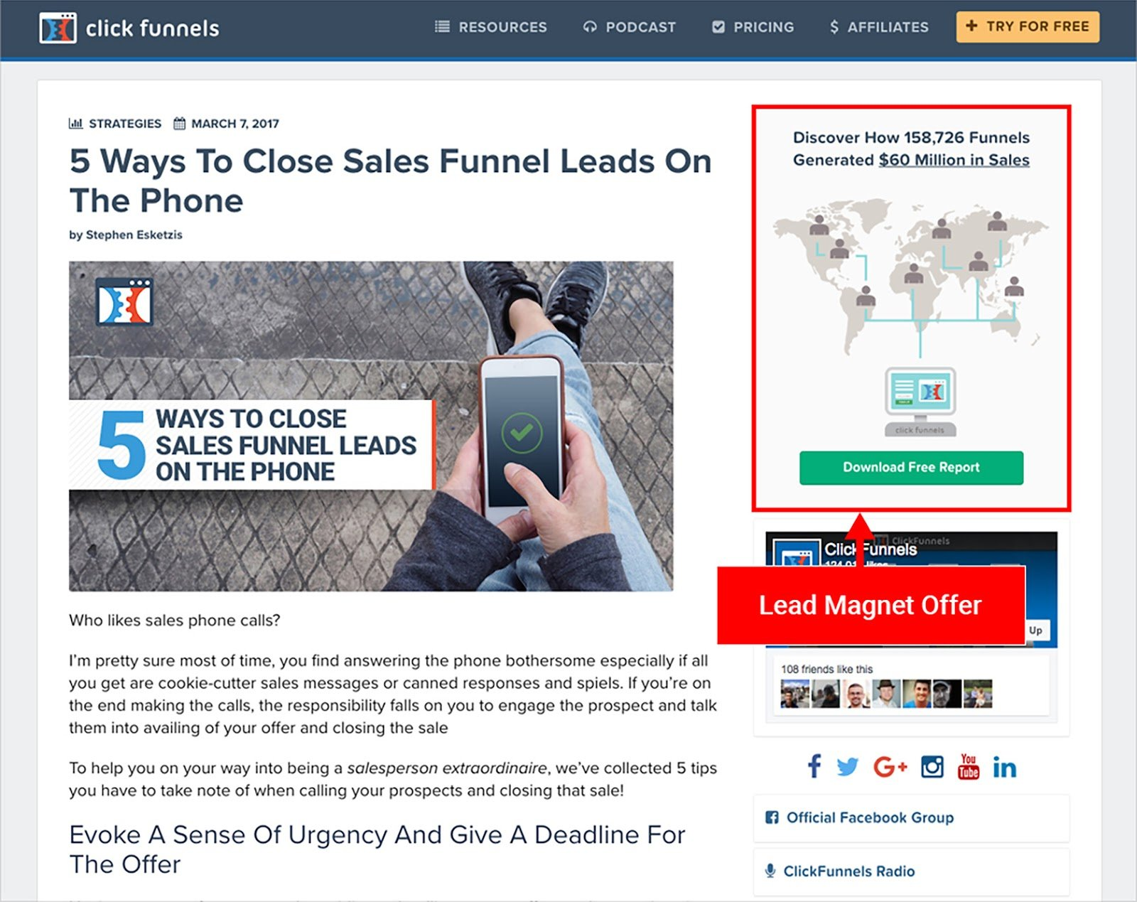 Image of an example from ClickFunnel conversion funnel
