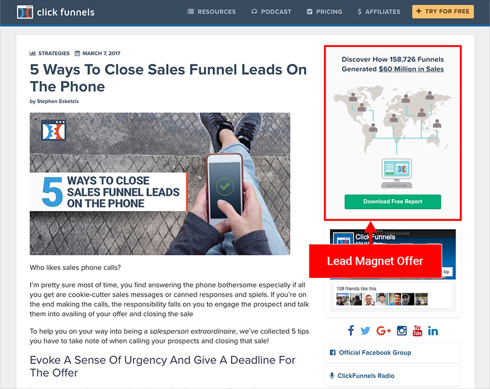 Image of an example from ClickFunnel