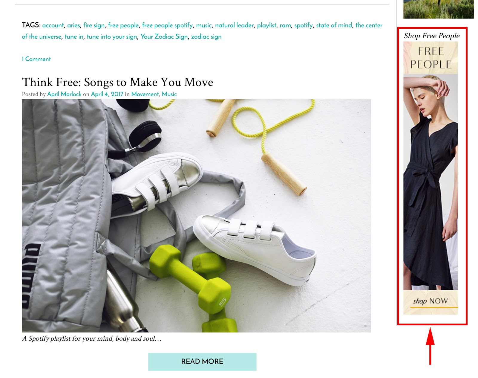 Image of the Free People's blog high-conversion funnel