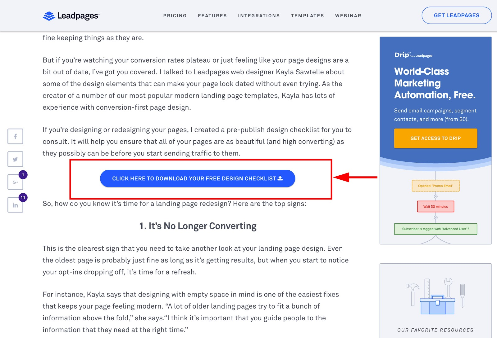 Image of LeadPages.net's in-blog offers conversion funnel