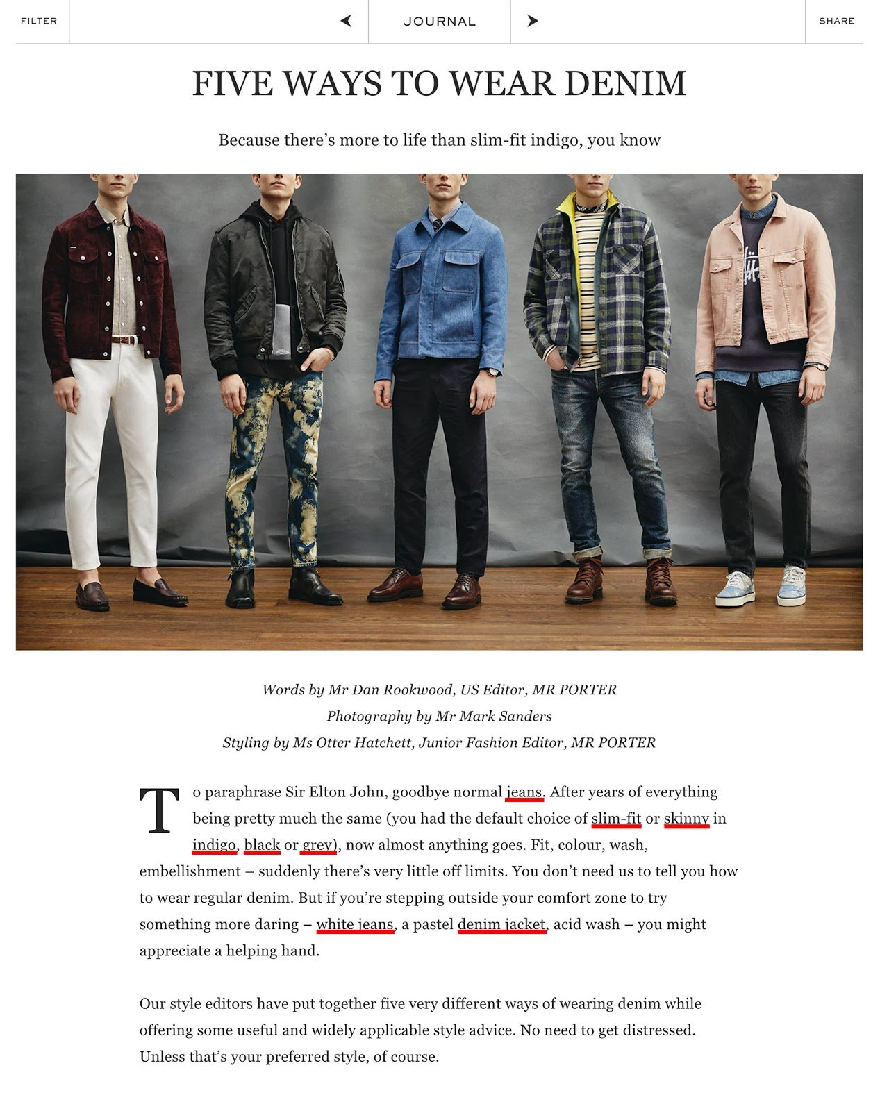 Image of Mr. Porter's links - Also a sales funnel example to convert more customers