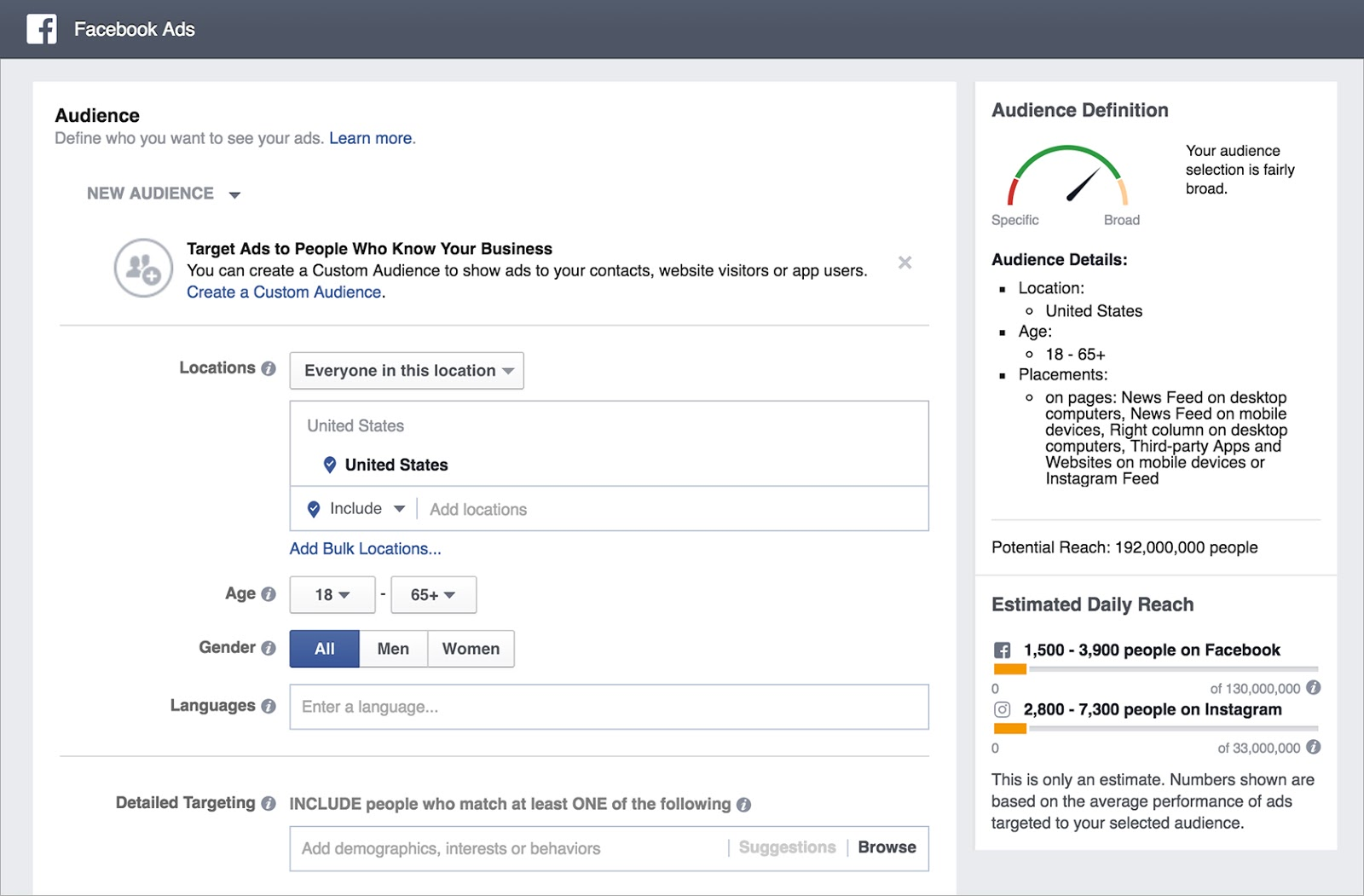 Image of Facebook custom audience setup