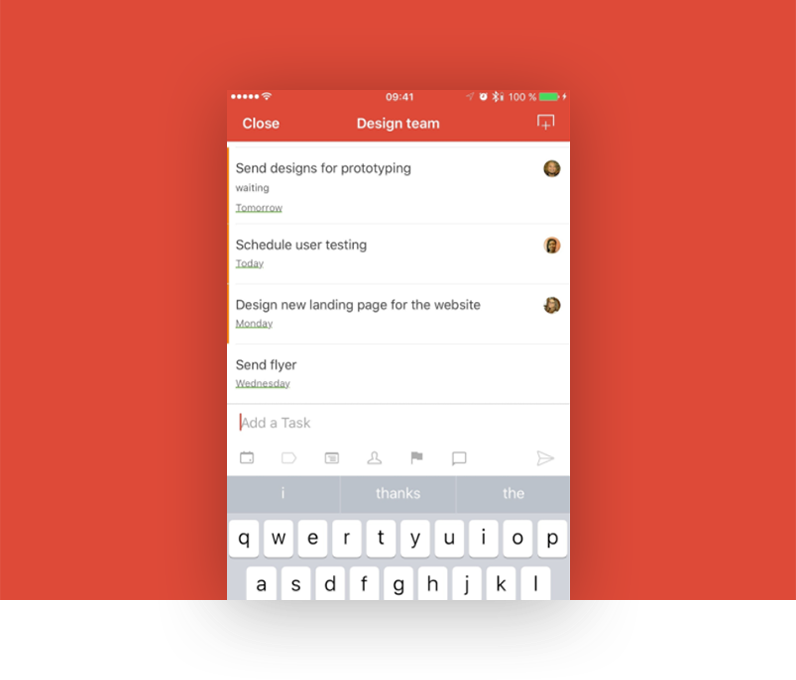 Todoist interactive mockup using the Marvel App