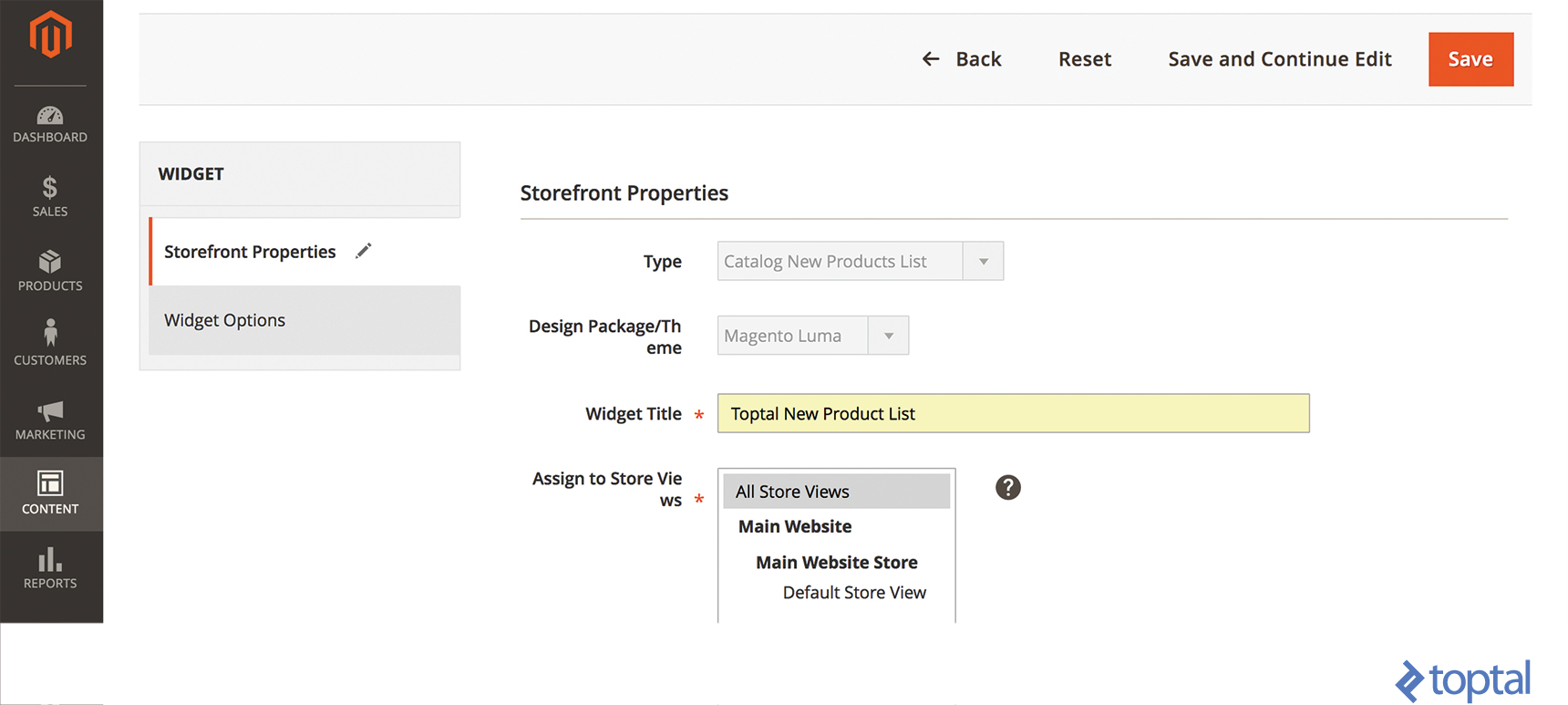 Image of the Magento Storefront Properties tab