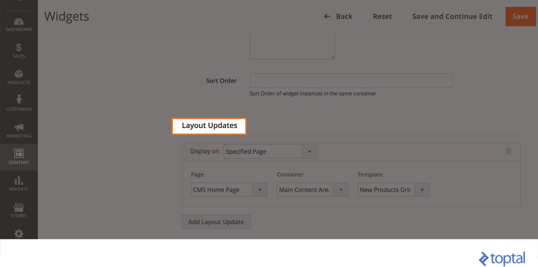 Image of the Layout Updates tab in Magento 2