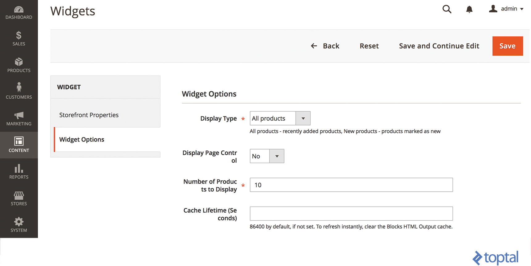 Widget Options section used to set Magento 2 Widget parameters