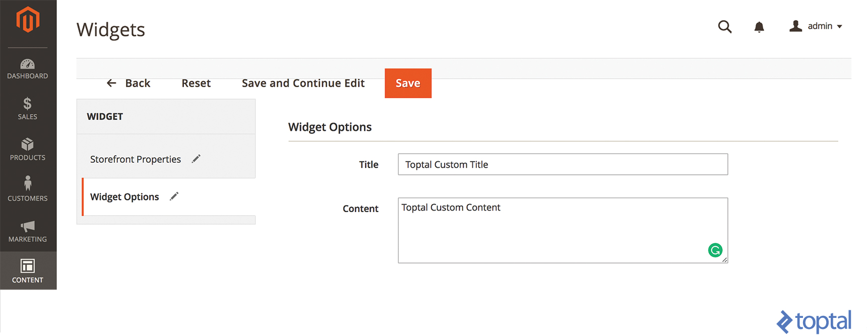 Toptal Custom Title and Toptal Custom Content input in Magento 2 Widget Options