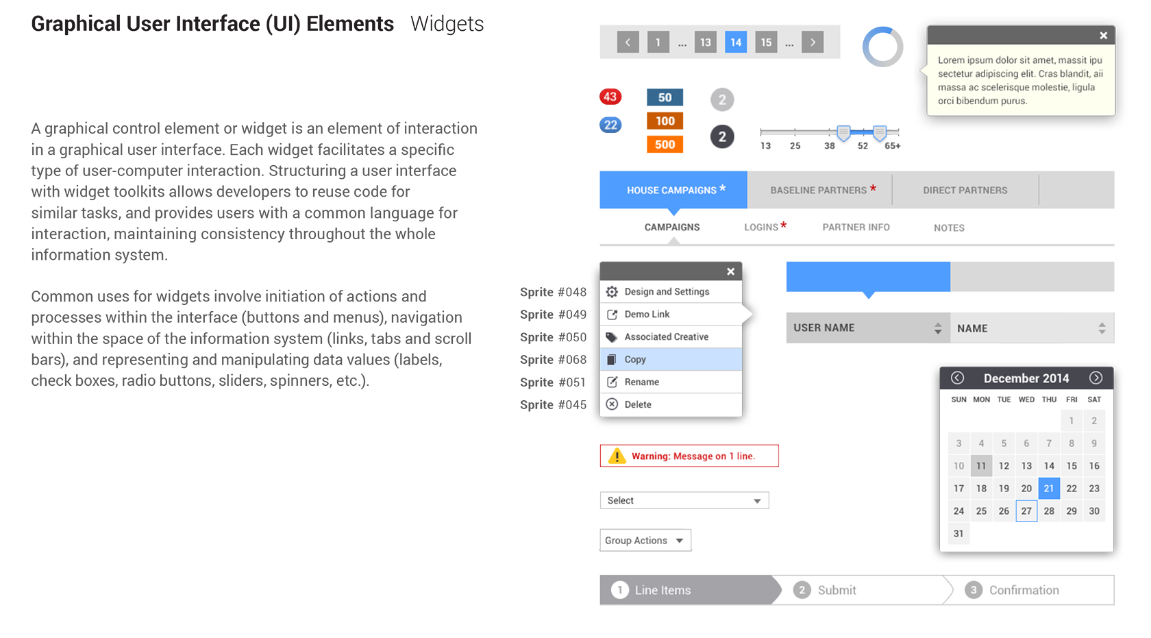 Style guide, UI elements, component library
