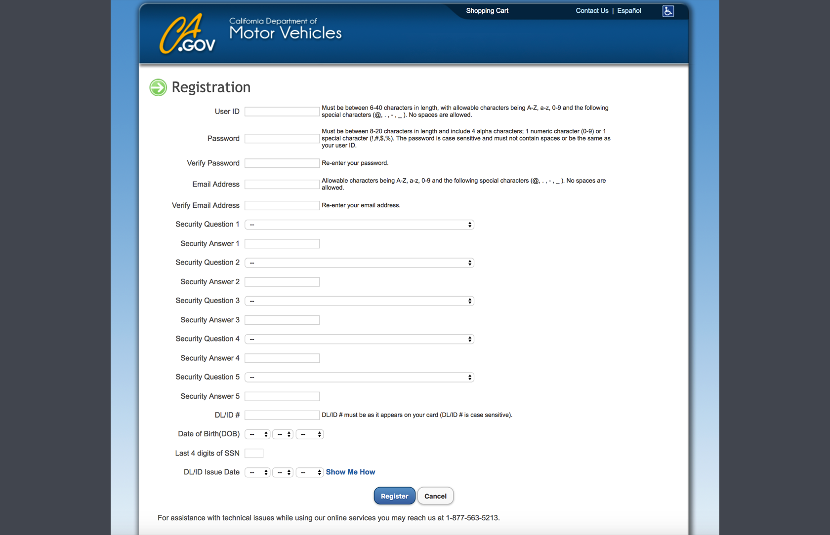 DMV web-form design