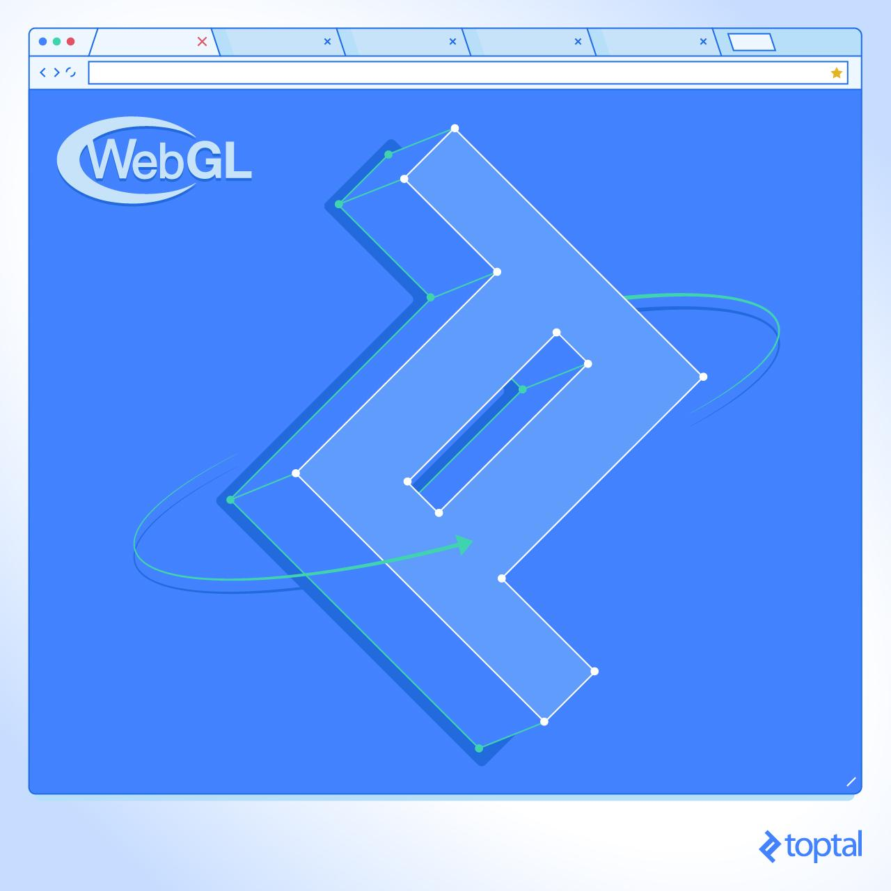 Illustration of a 3D Toptal logo on a WebGL canvas