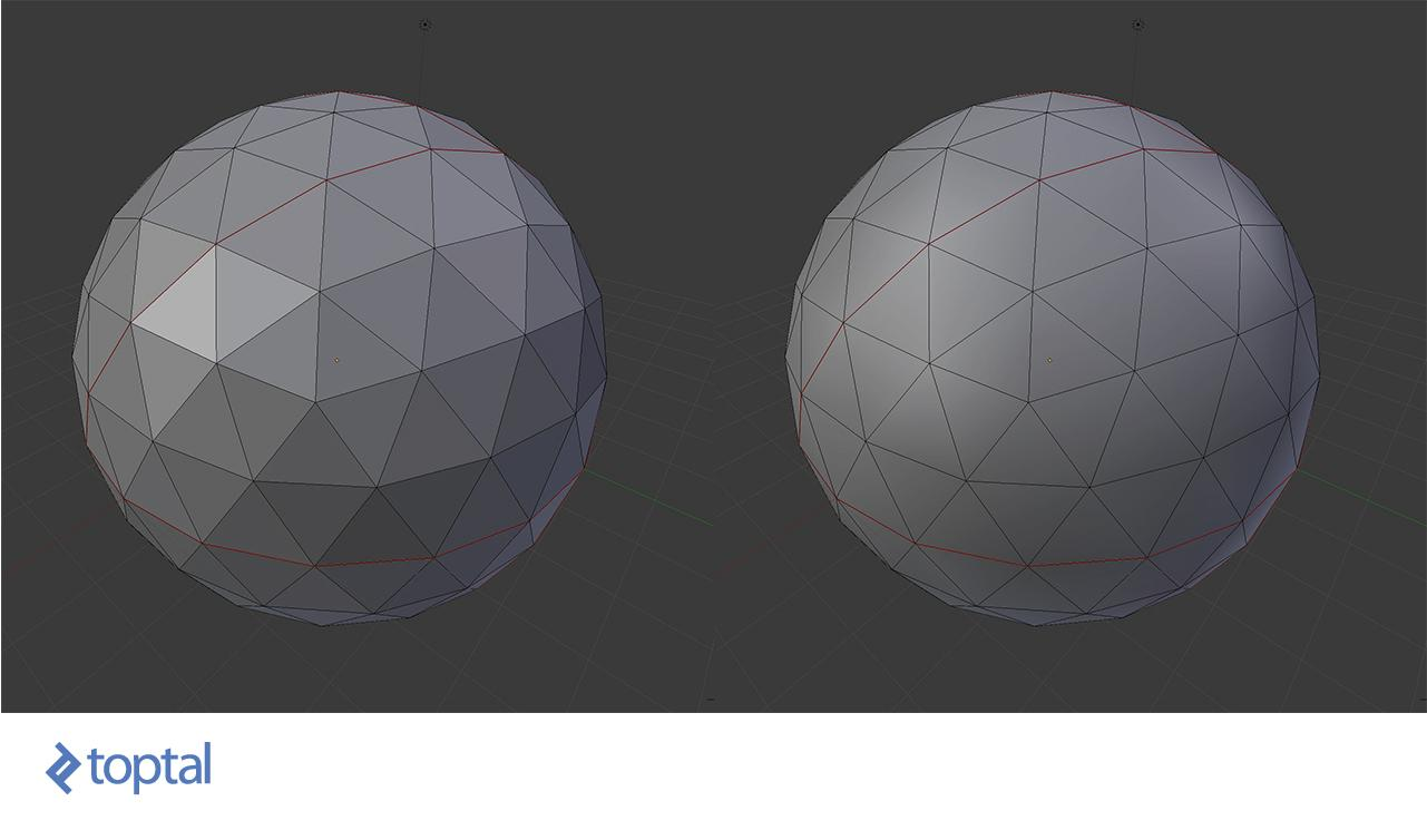 Spheres with the same wireframe, that have flat and smooth shading applied