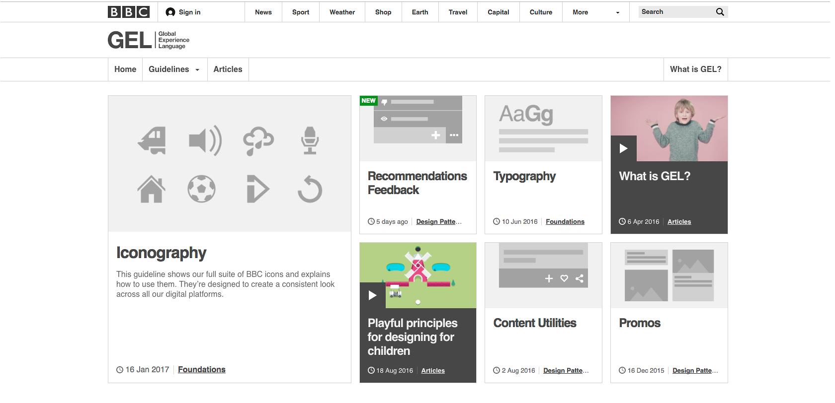 Sistema de diseño de UX, guía de estilo, y librería de componentes de BBC