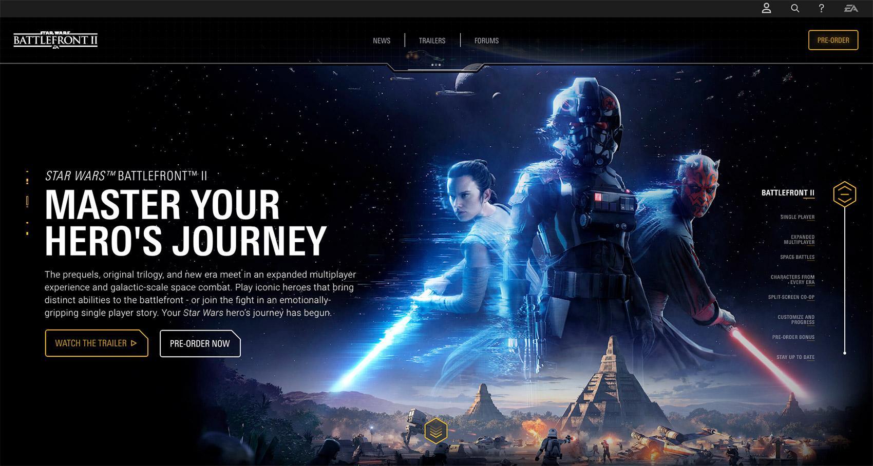 Star Wars Battlefront 2 game website color-scheme styleguide