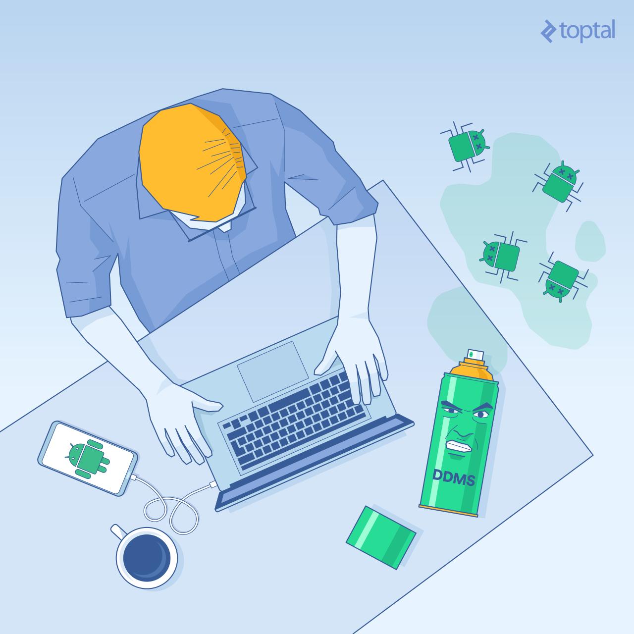 Android DDMS Cover Illustration: Developer debugging with DDMS.