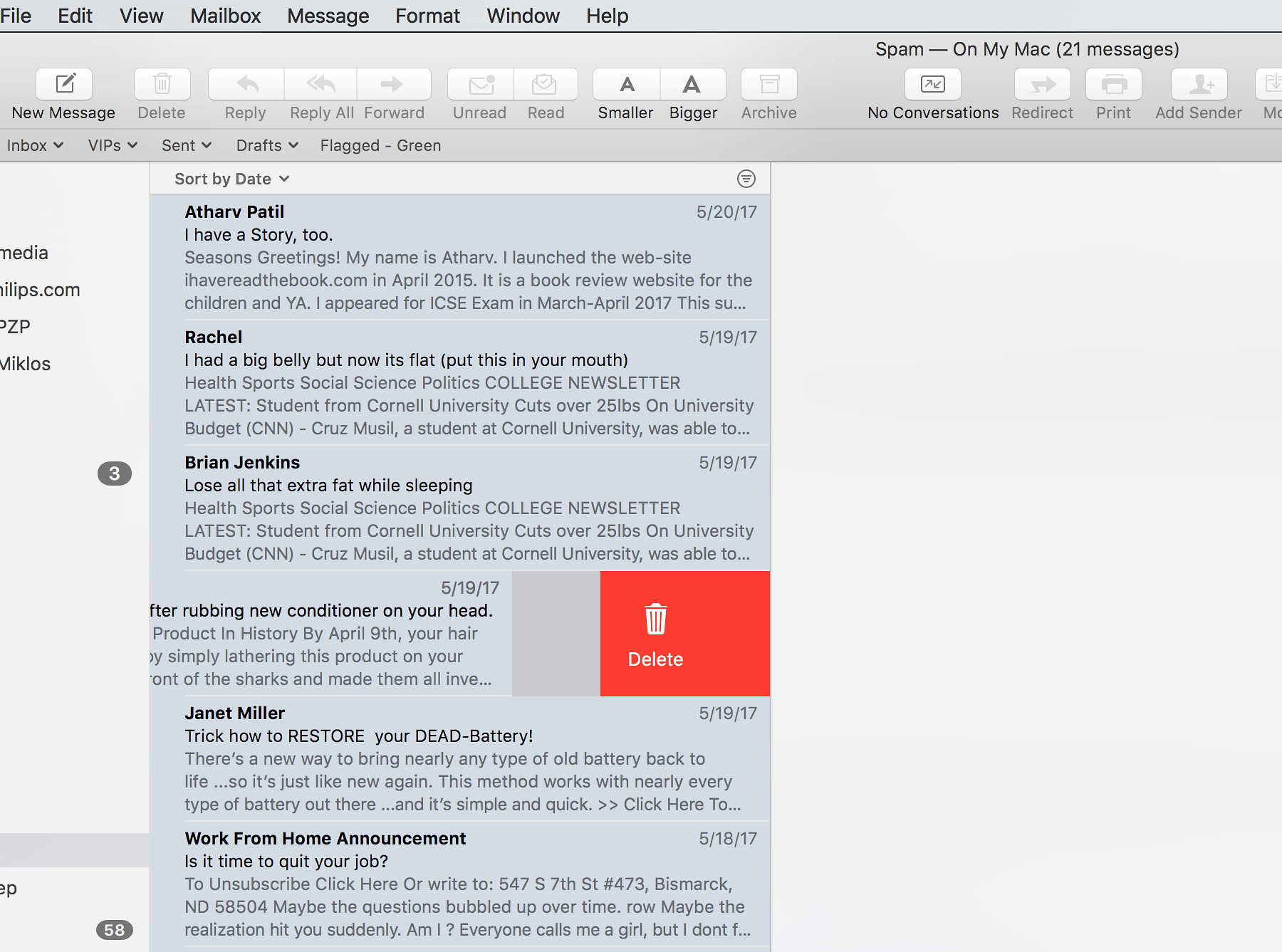 Prinsip-prinsip desain interaksi dilanggar oleh Apple Mail dengan kemampuan tersembunyi karena tidak ada penanda