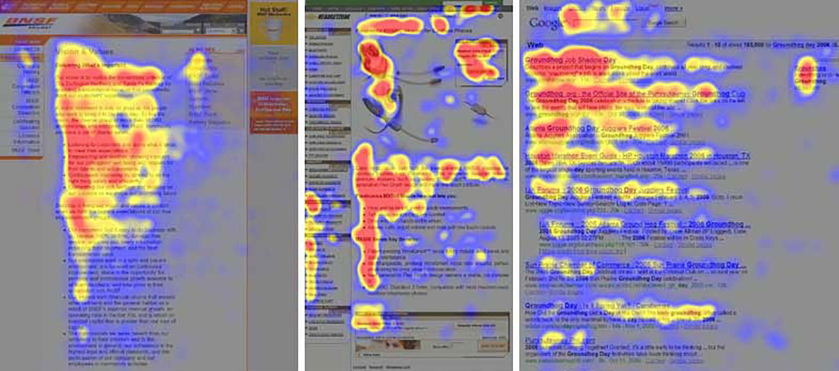 Eyetracking study F-pattern scanning and reading content on websites one of the many interaction design principles