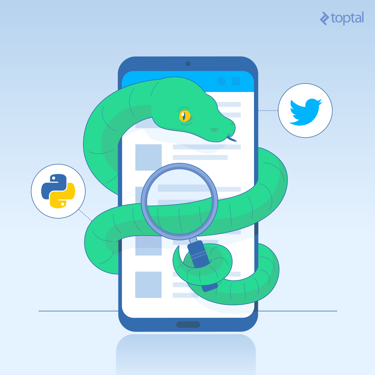Python snake reading Twitter