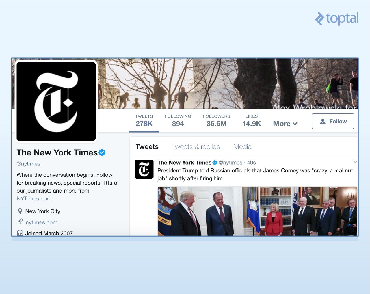 The contents of the @NyTimes Twitter account at the moment of writing