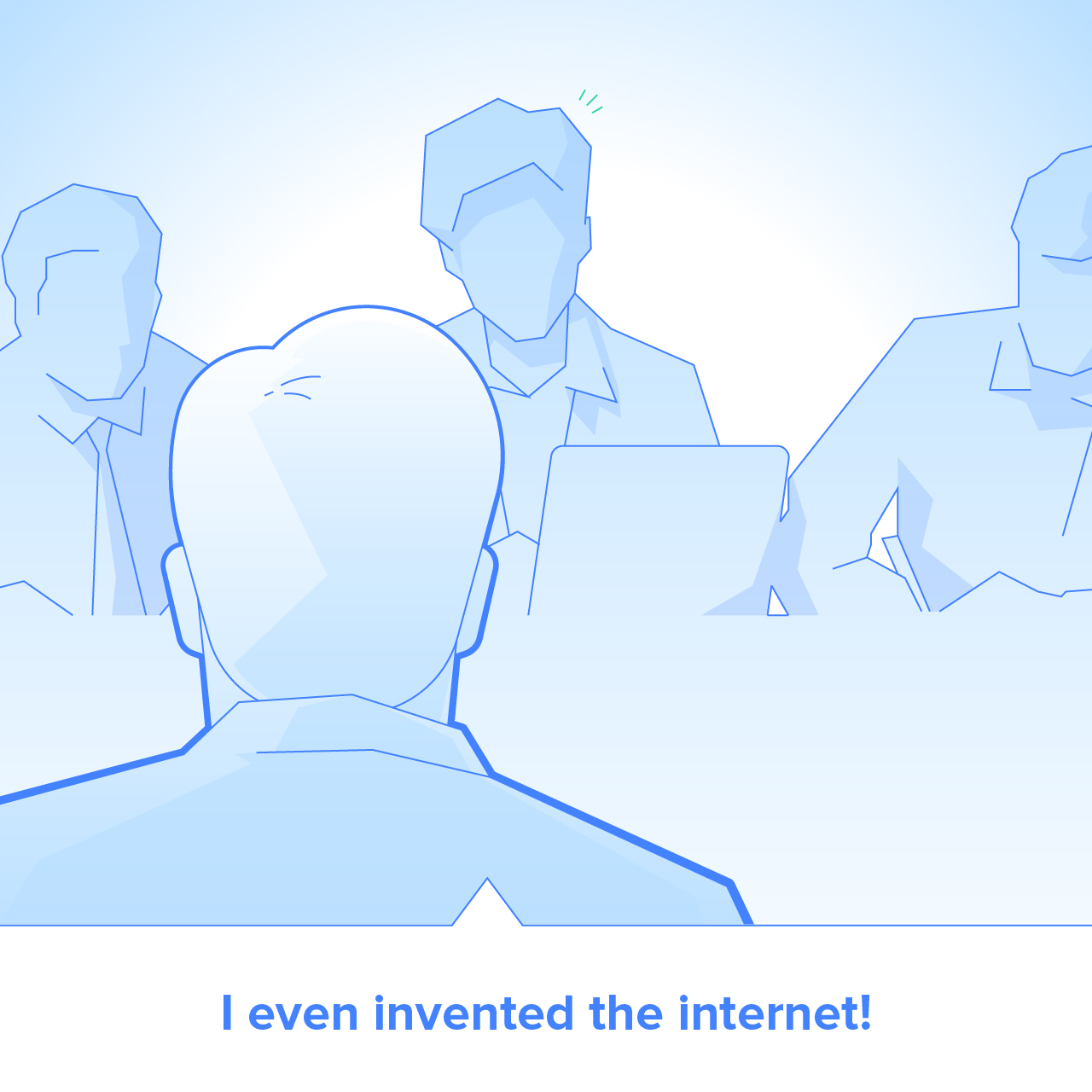"Cartoon of an interview with the candidate saying ""I even invented the internet!"""