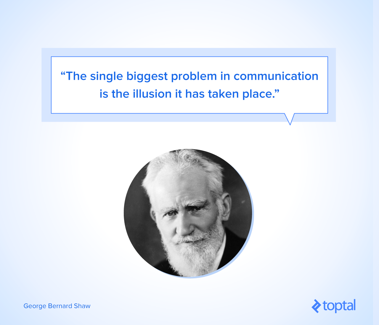 """The single biggest problem in communication is the illusion it has taken place."" --George Bernard Shaw"