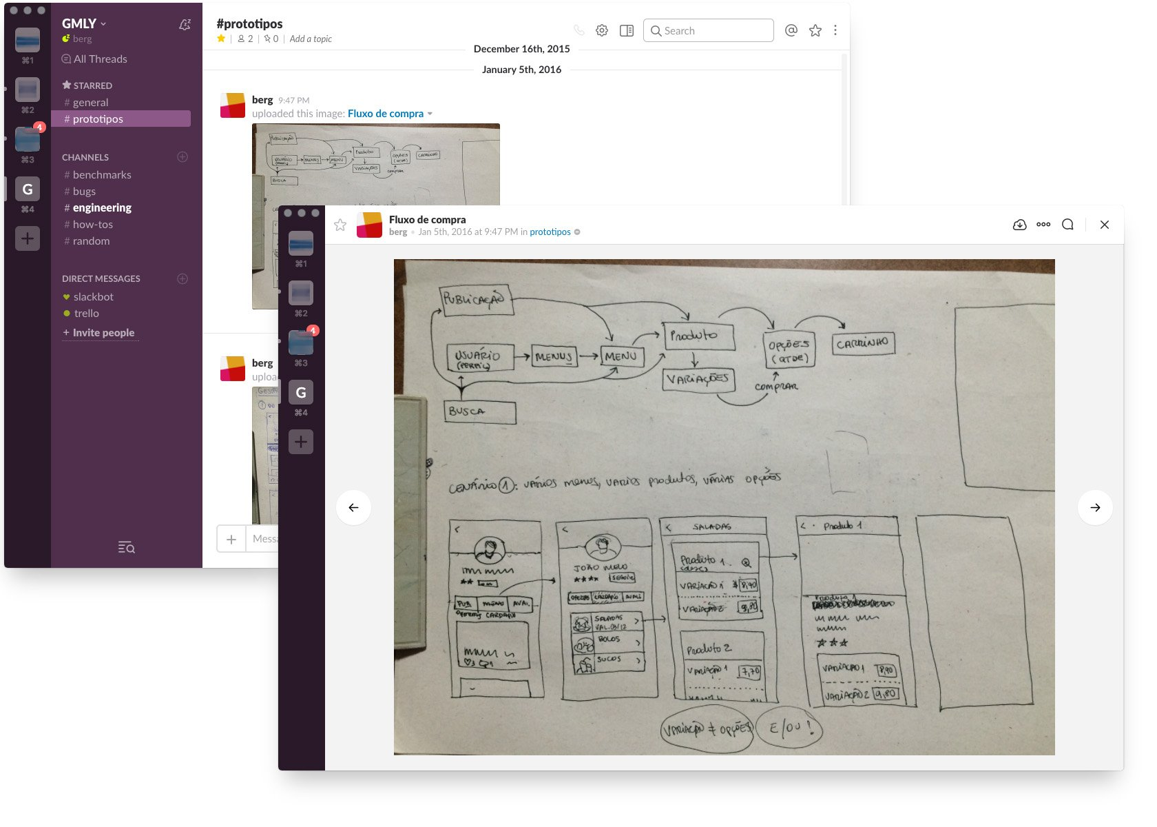 Sketching and sharing using messaging apps in UX workshops