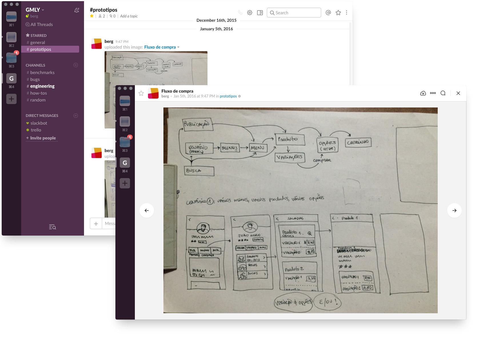 Esbozar y compartir utilizando aplicaciones de mensajería en los talleres de UX