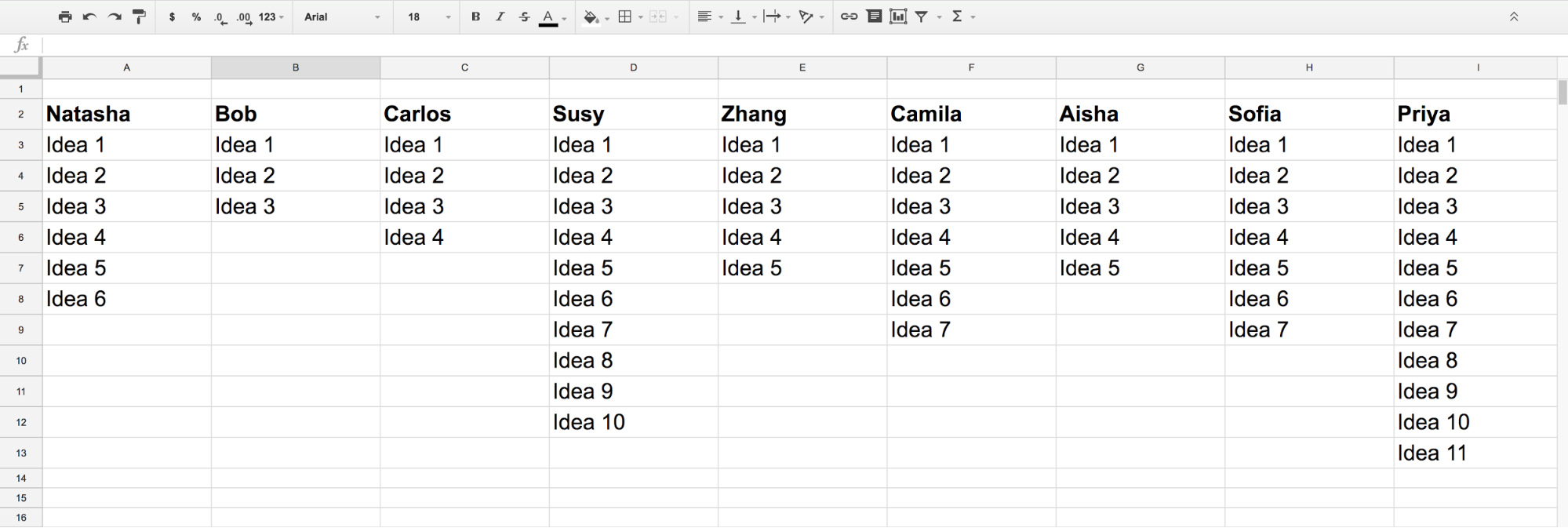 Using spreadsheets enables UX workshop productivity