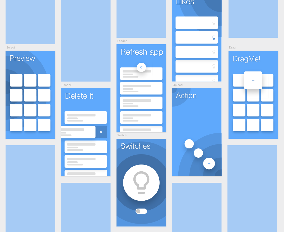 Artboards in Framer with all interaction designs