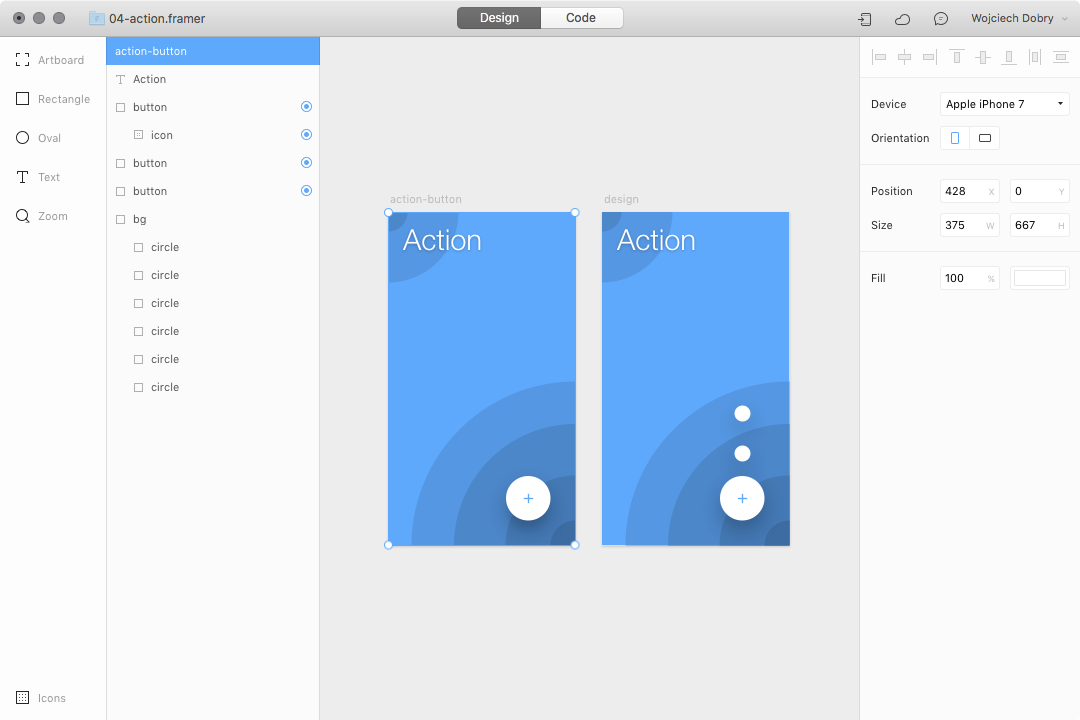 Creation process in Framer design mode