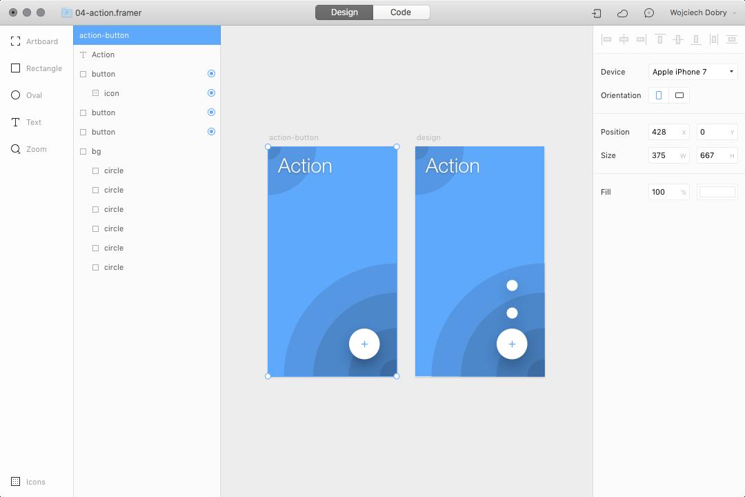 Creation process in Framer design mode
