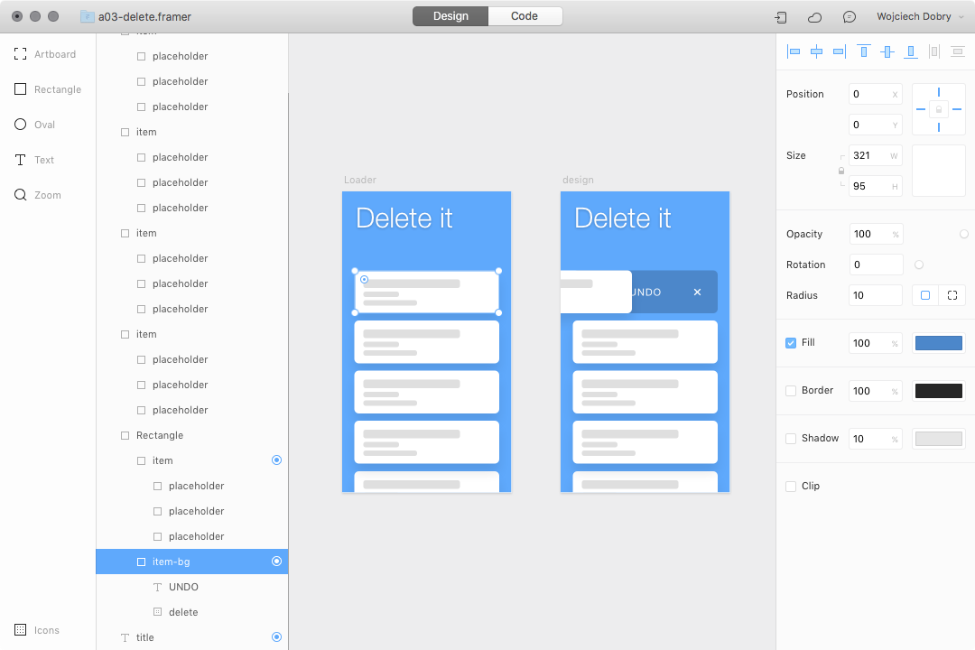 Remove item interaction design in Framer