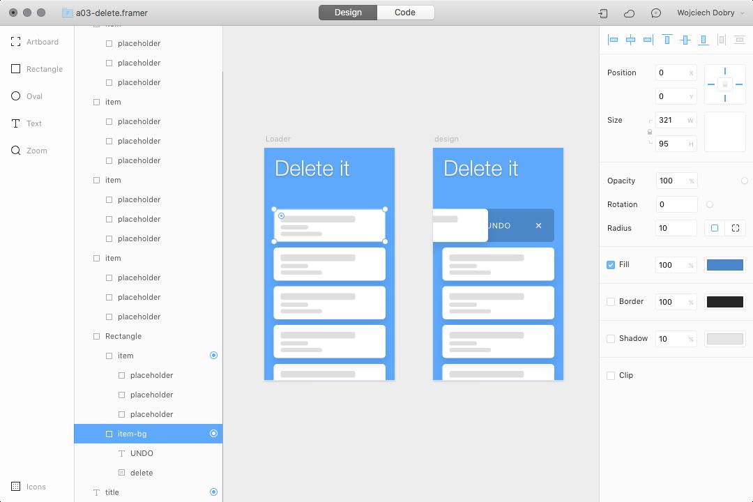 Remove item interaction design in Framer