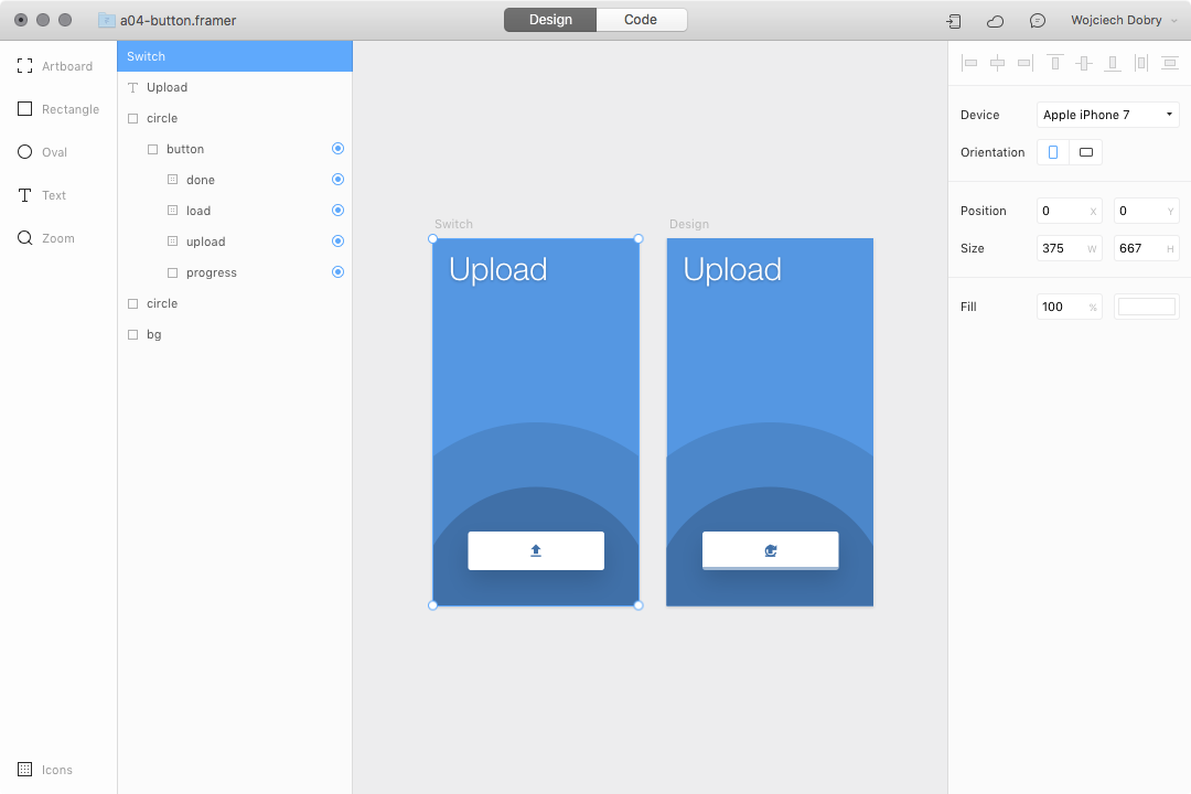 Button design in Framer