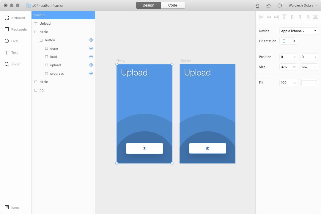 Button design in Framer