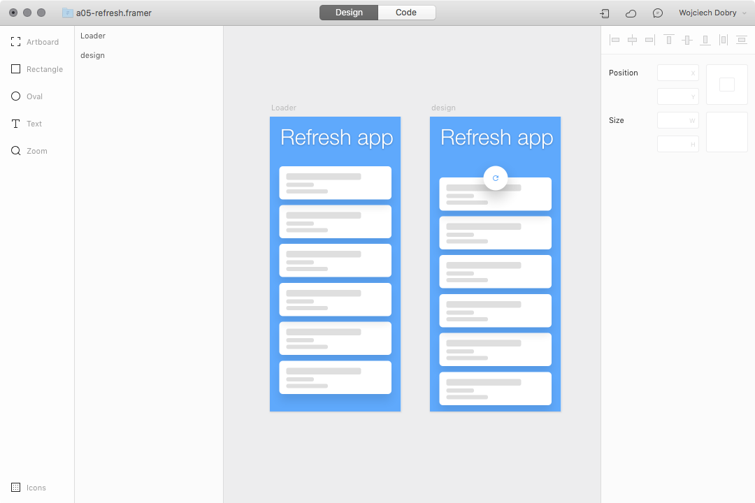 Pull-to-refresh prototype design in Framer