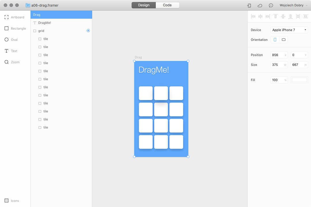 Dragging prototype design in Framer