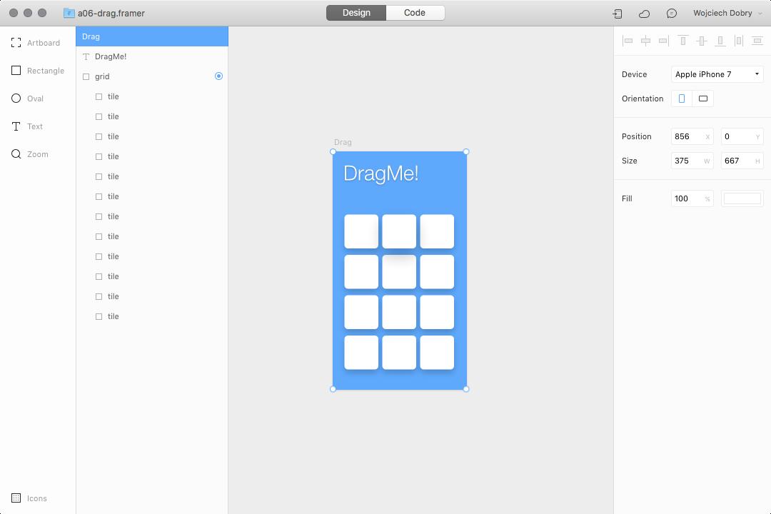 Dragging prototype design in Framer