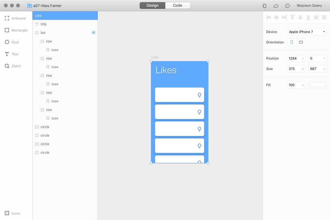 Likes interaction design in Framer